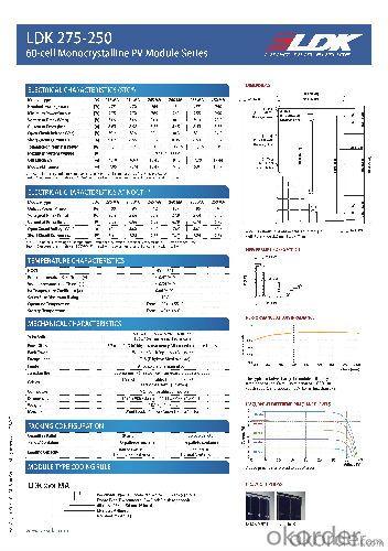 LDK 60-cell MONO MODULE 275W Output Warranty of 25 Years