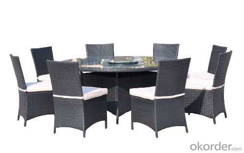 Beige Fabric Nine Pieces Dining Table Set BDR-8192