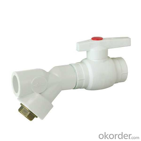 High Quality A type plastic ball valve with brass core and filter