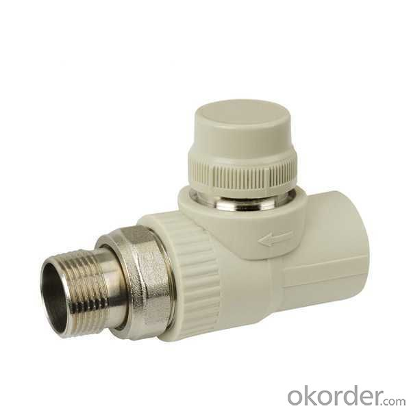 High Quality PP-R straight stop valve with temperature control by hand
