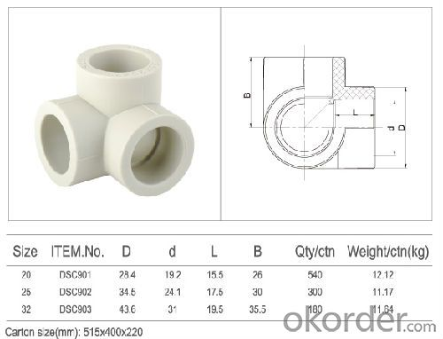 PPR Three-way Elbow Plastic Pipe Fittings