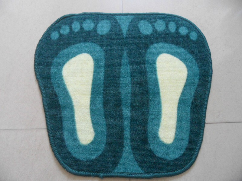 Blue Red Brown Green Feet Shape Polyester Printed Carpet