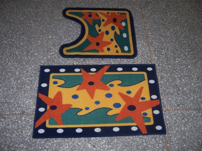 Hot Sale Cheap Nylon Printed Bath Mat Set with Custom Design
