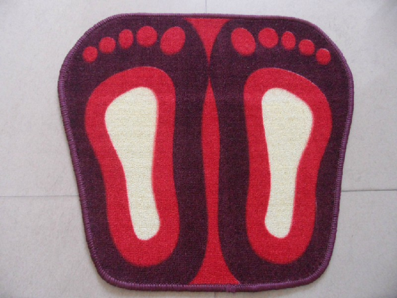 Blue Red Brown Green Feet Shape Polyester Printed Carpet 100% Polyester