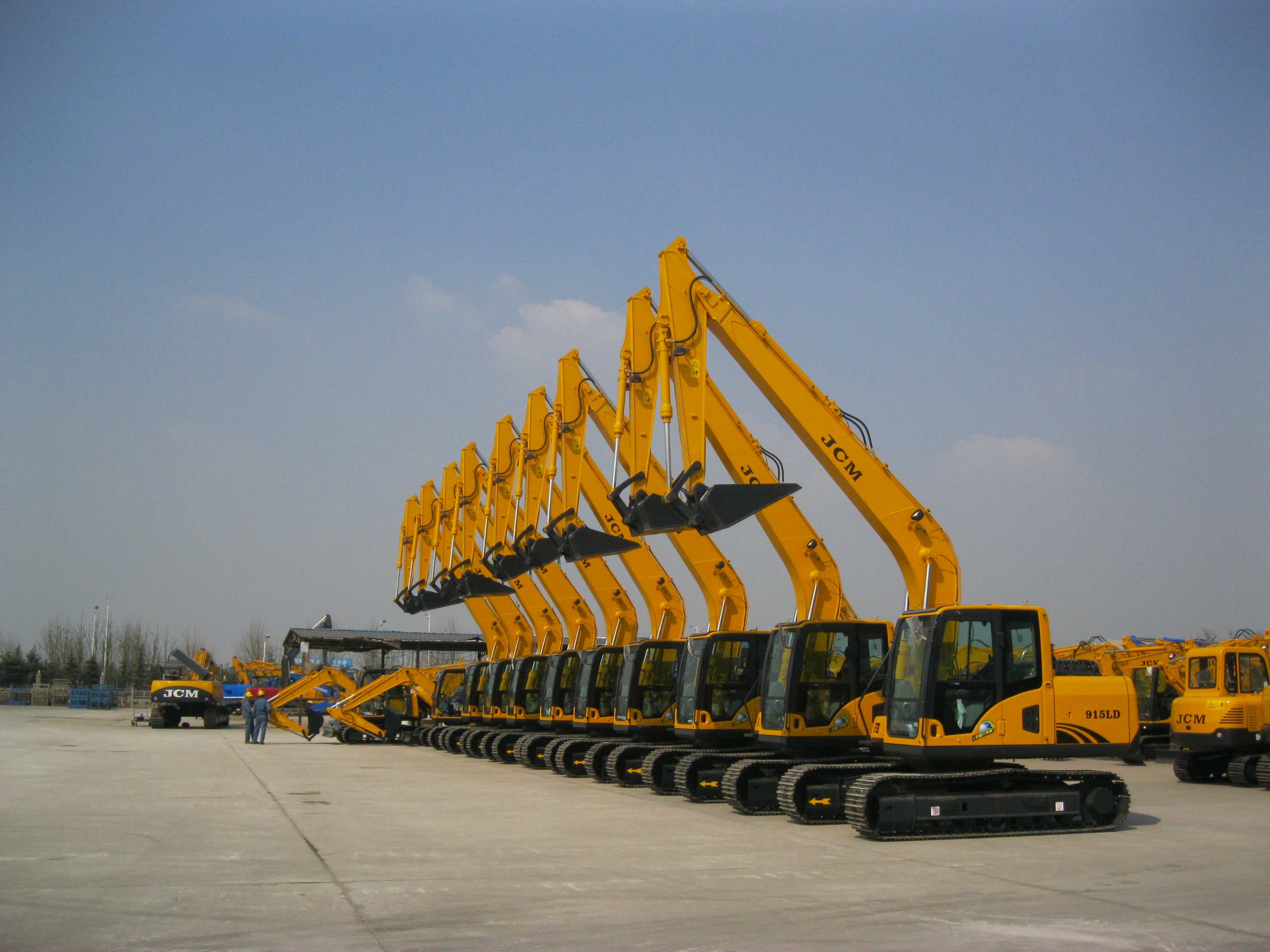 JCM915LD coal unloading excavator with long boom and special bucket