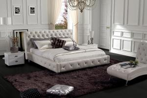 Modern classic leather bed Chinese leather modern bedroom sets