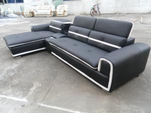 Black color genuine leather corner sofa 8098