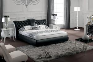 Modern classic leather bed