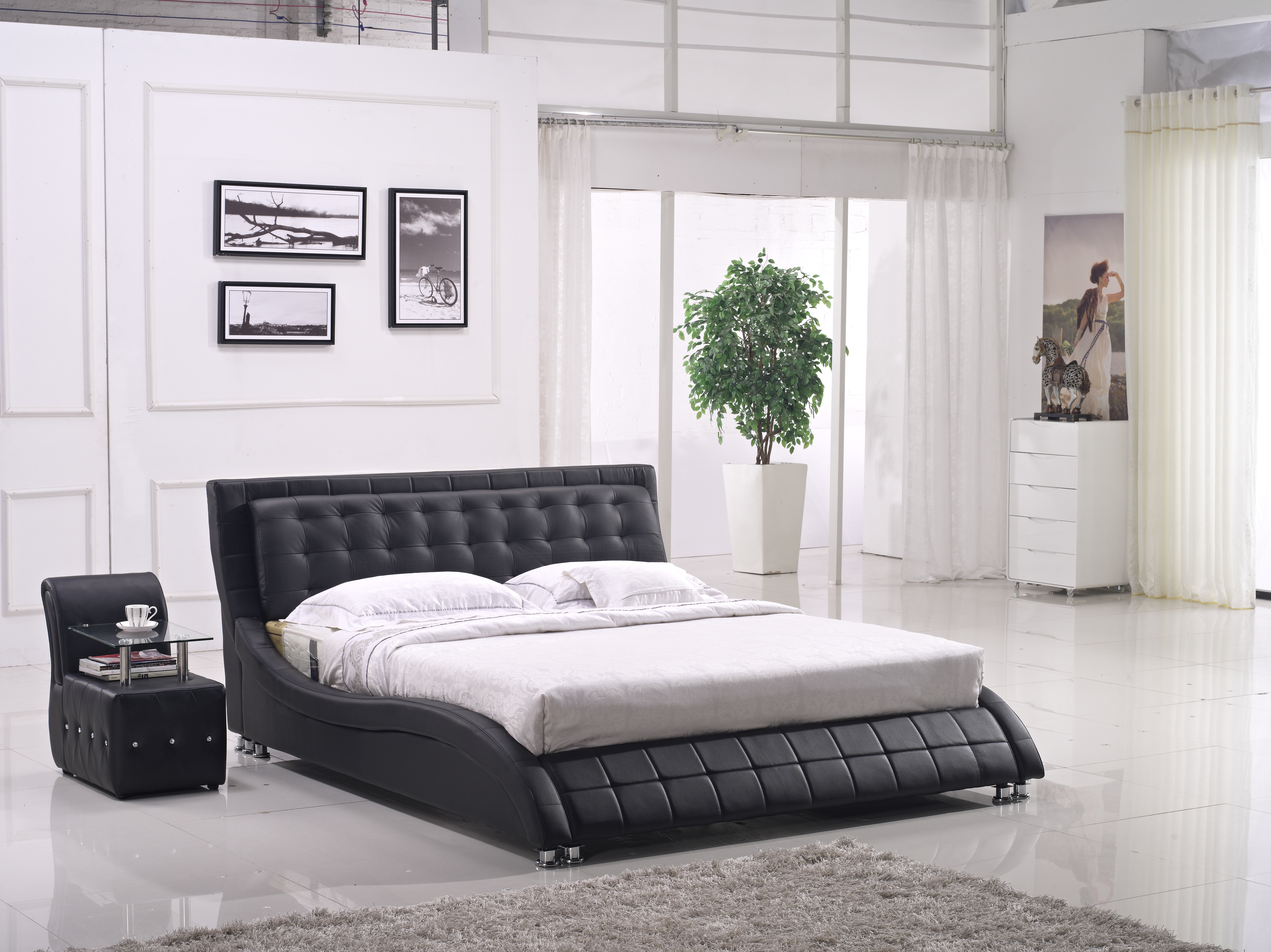 Modern classic leather bed Chinese leather