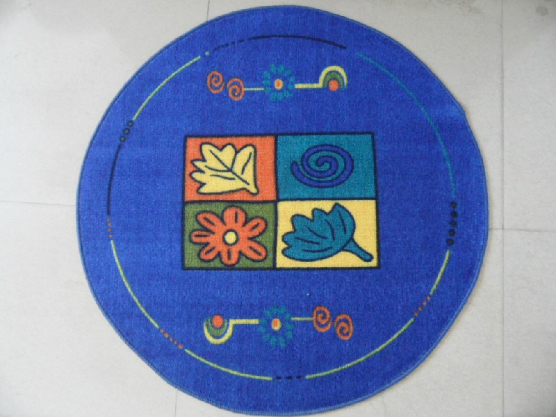Round Printed Door Mat For Kids Play