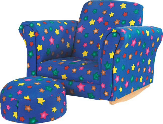 Child's   Rocking Chair with Ottoman-Star Design