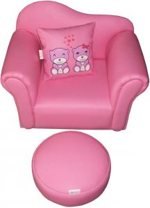 Child's Single Chair with Cushion & Stool
