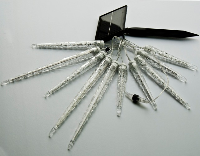 10Ct Mixed Meteor White LED Light String with Icicle Reflectors