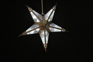 Foldable PVC Yellow Hanging Star Light with Battery Box