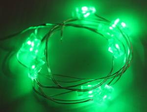 Copper Wire Green Light String with Battery Box