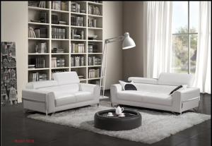 Living room genuine leather sofa set 8018