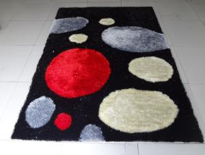 Black Red  Polyester Shaggy Rug