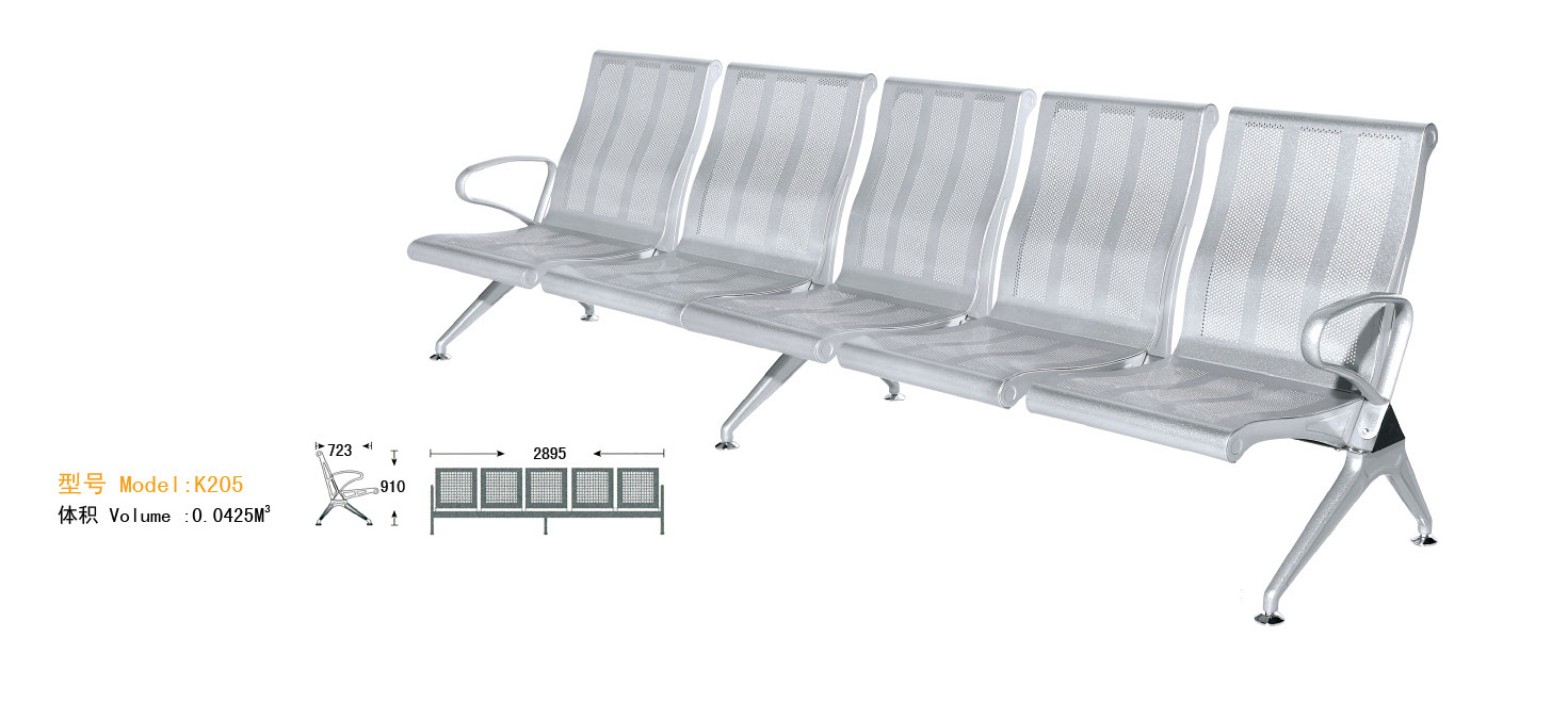 WNACS-FIVE SETAS METAL POWDER PAINTED AIRPORT WATIING CHAIR WITH HIGH BACK