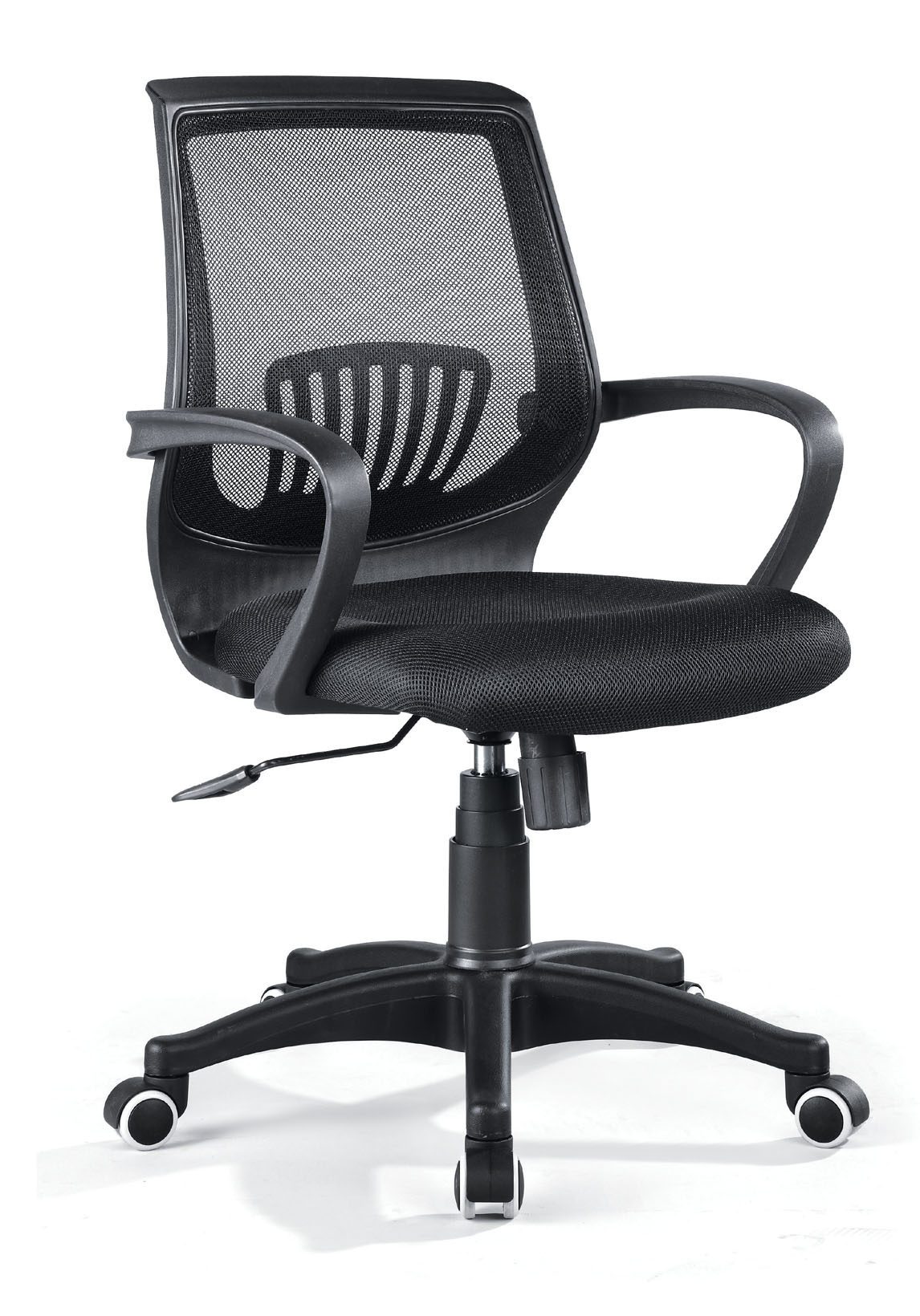Swivel Office Chair with Black Armrest and Black mesh Backrest