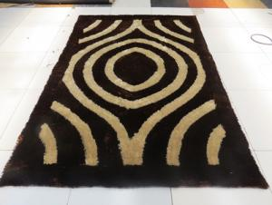 Black White Polyester  Silk  Hand Tufted Rug
