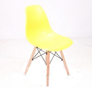 Plastic Garden Chair with Wood Legs