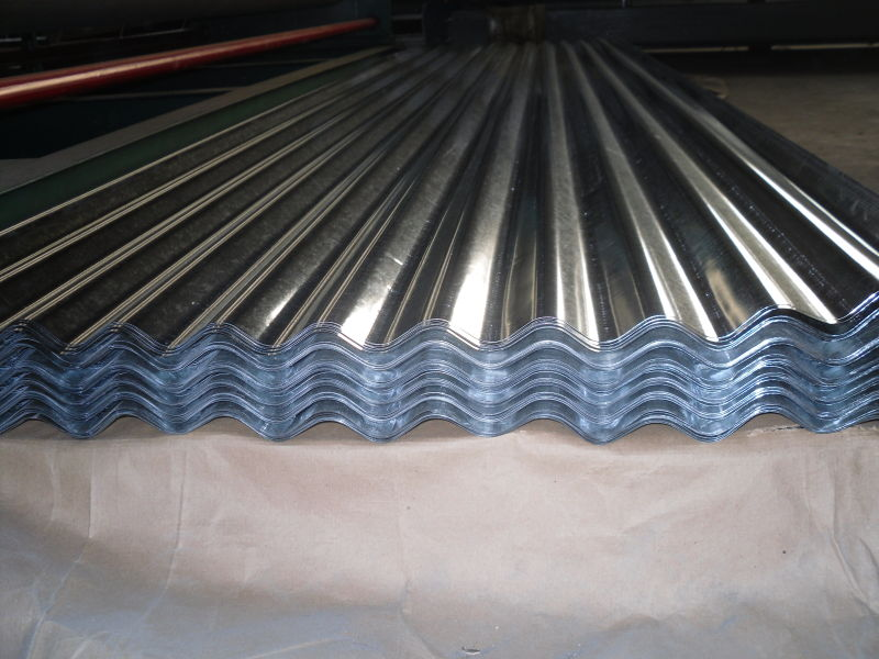 Corrugated steel sheets for roofing