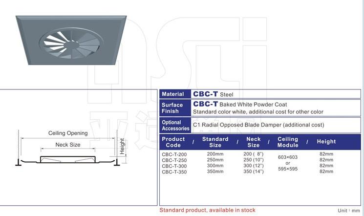 CBC  Swirl Type Round  Ceiling Diffuser- 2 Feet
