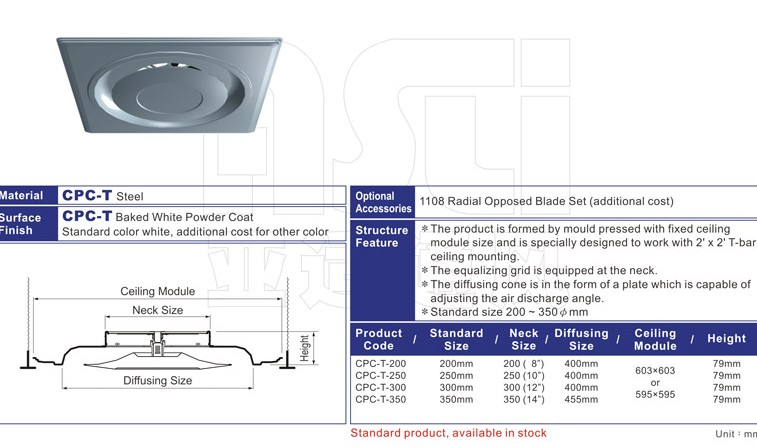 CPC  Plate-Type 2 Feet Square Ceiling Diffuser