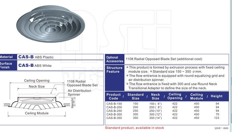 CAS  Spinning Round  Ceiling Diffuser