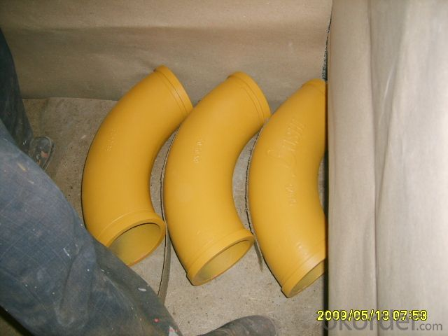 Concrete Pump Truck Parts Elbow Bend DN100 R175 90DGR 127MM Mn13-4 Casting
