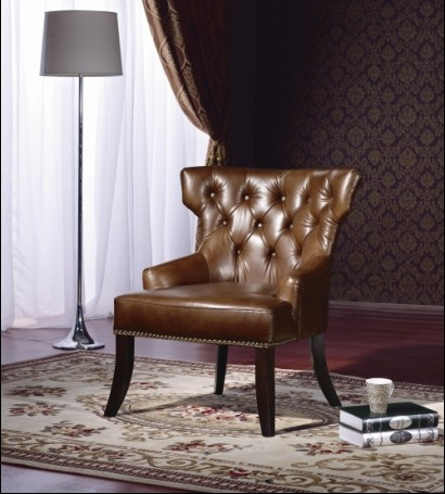 Classic chesterfield chair 1 seater  real imported leather