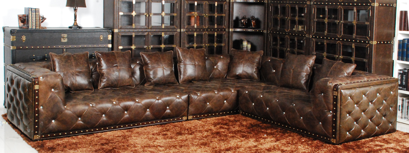 Classic chesterfield long sofa  real leather