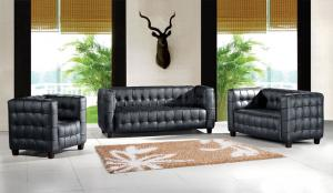 Classic chesterfield sofa 3seater with steeless iron real leather