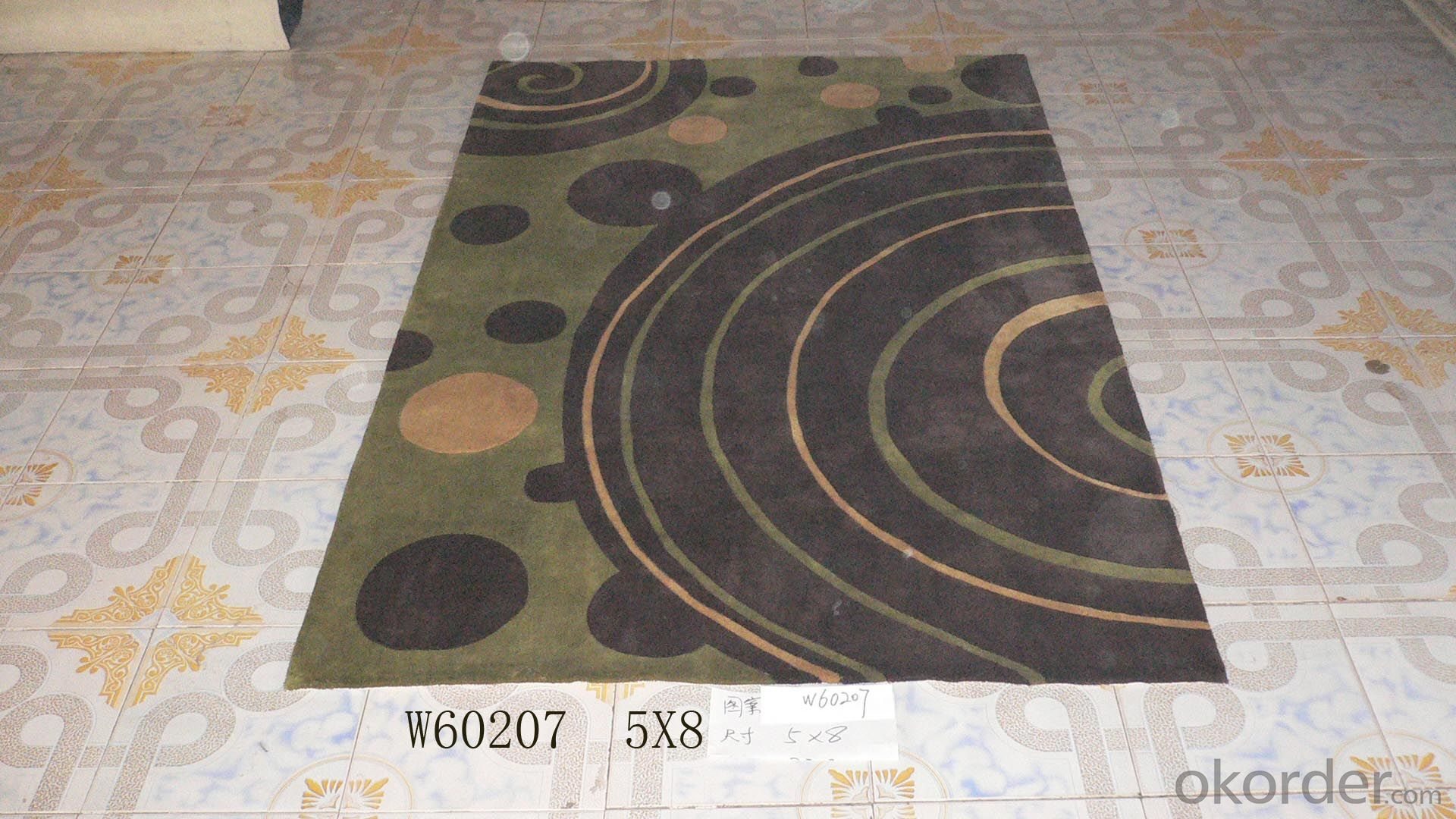 Black Round Design  Hand Tufted Living Room Rugs