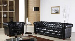 Classic chesterfield chair 3 seater black real imported leather