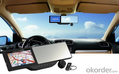 Rearview Mirror with GPS and Bluetooth headset and 720P HD DVR L310