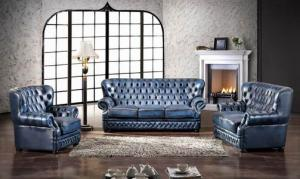 Classic chesterfield sofa real leather