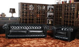 Classic chesterfield sofa 2 seater real leather