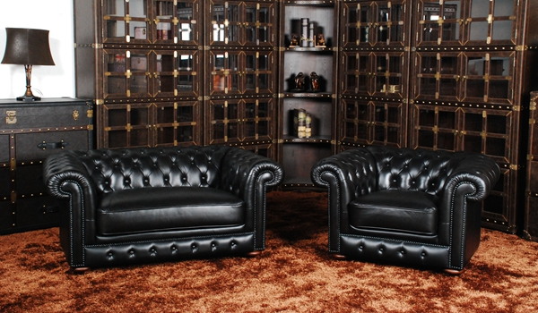 Classic chesterfield sofa set real leather