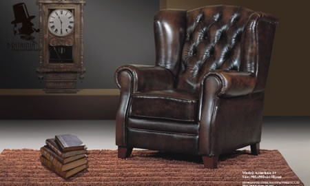 Classic chesterfield chair real leather