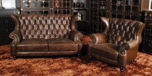 Classic chesterfield chair 2seater real leather