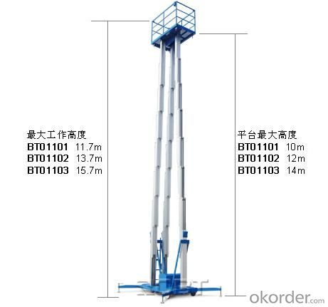 Triple mast aluminium aerial work plateform