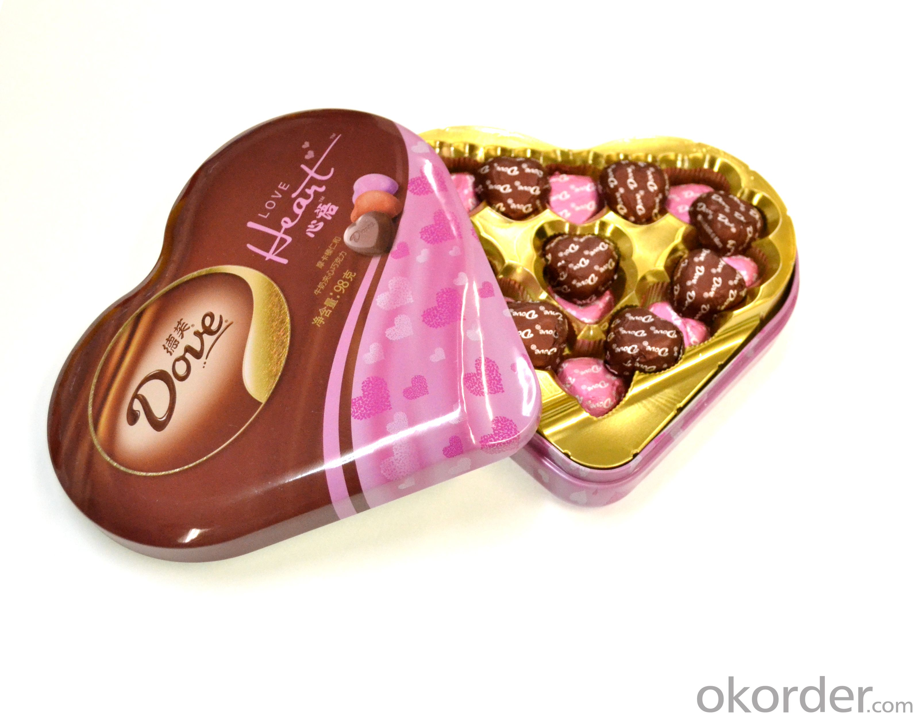 Heart shape chocolate can packaging, tinplate