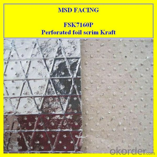 FSK7160P Perforated Aluminum Foil Laminated to Kraft Paper Reinforced by Scrim