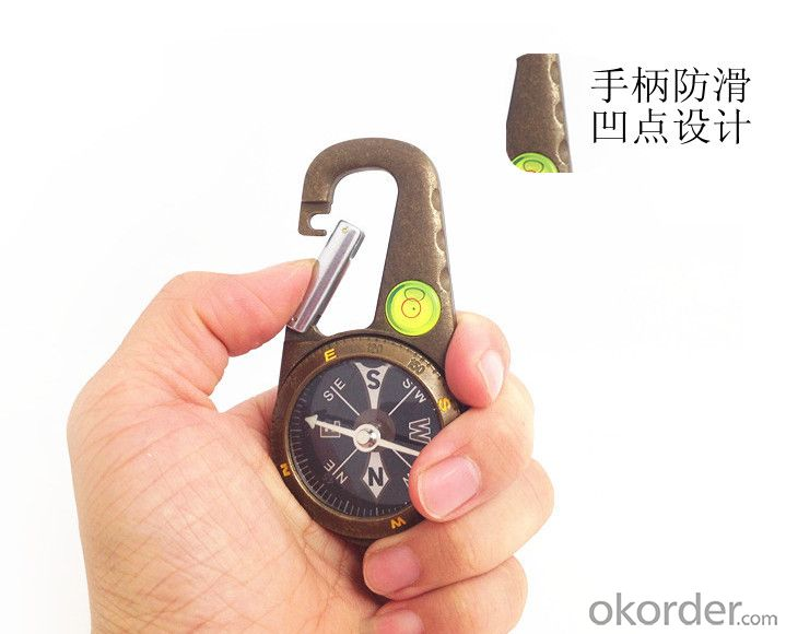 Metal Carabiner Magnetic Compass For Tourist