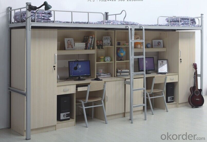 Metal Tube Double Bunk Bed with Workstation