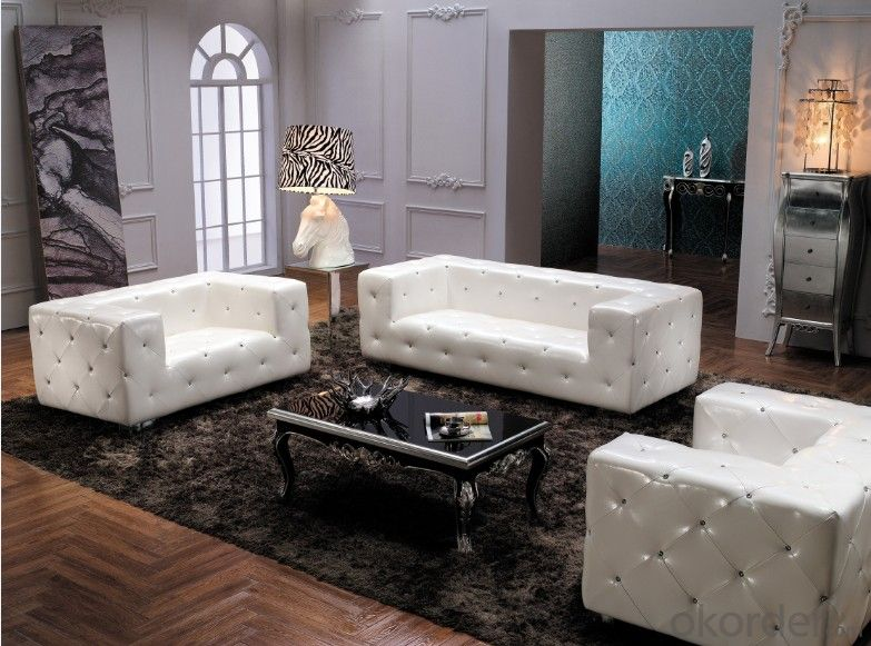 Fabric Chesterfield sofa white color