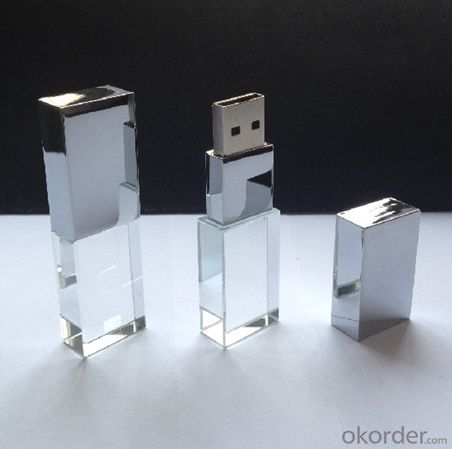 Transparent Glass Crystal LED USB Flash Drive