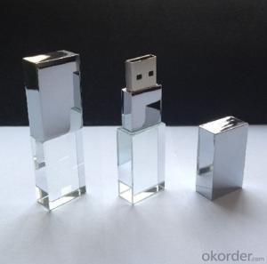 Transparent Glass Crystal LED USB Flash Drive