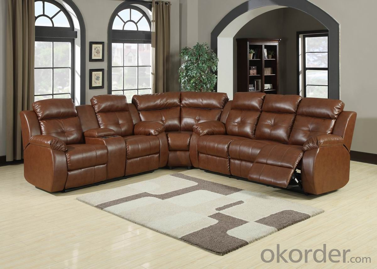 Modern recliner sofa Chinese leather 6 seater